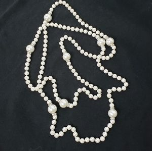 Faux Pearl and Crystal Flapper Style Necklace